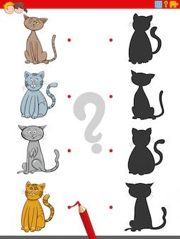 Jogo de sombra com personagens de gatos