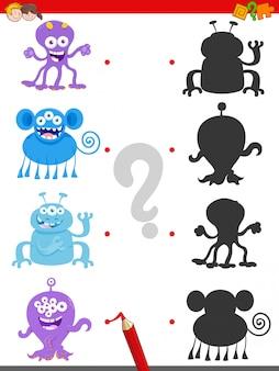 Jogo de sombra com personagens de monstros felizes