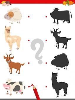Jogo de sombra com personagens engraçados de animais de fazenda