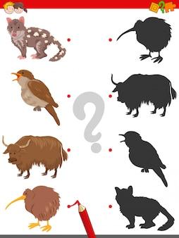 Jogo de sombra com personagens engraçados de animais