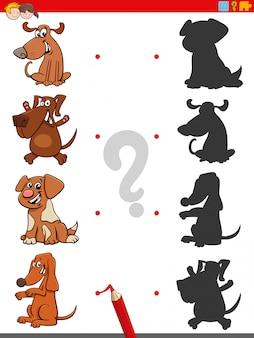 Jogo de sombra com personagens engraçados de cães