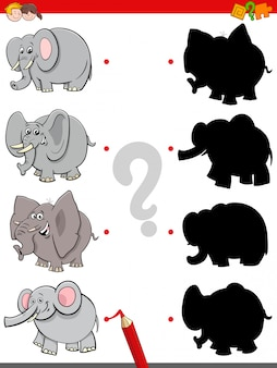 Jogo de sombra com personagens engraçados de elefantes