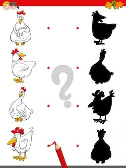 Jogo de sombra com personagens engraçados de frango