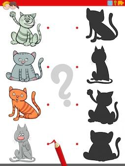 Jogo de sombra com personagens engraçados de gatos