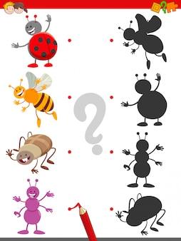 Jogo de sombra com personagens fofinhos de insetos