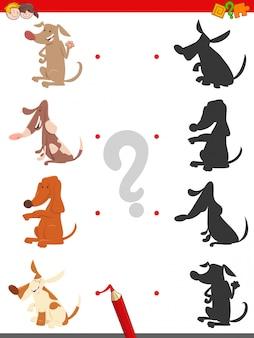 Jogo de sombra educacional para crianças com cães