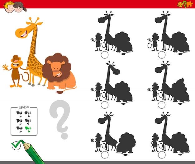 Jogo de sombra para crianças com personagens animais