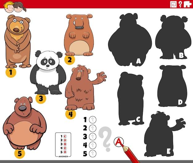 Jogo de sombras com personagens de desenhos animados de ursos