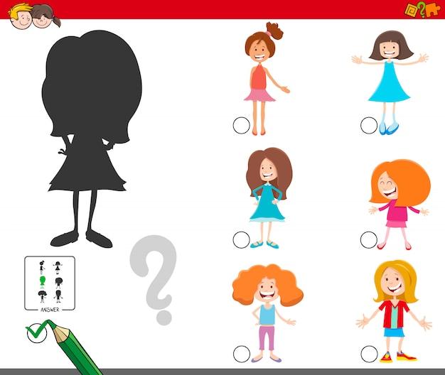 Jogo de sombras com personagens de garotas de desenhos animados