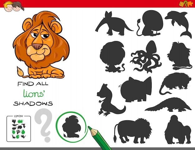 Jogo de sombras com personagens de leão