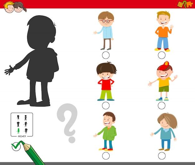 Jogo de sombras com personagens de meninos dos desenhos animados