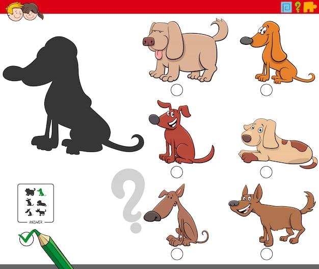 Jogo de sombras com personagens fofinhos de cachorro
