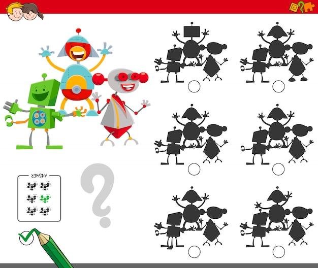 Jogo de sombras com personagens robôs