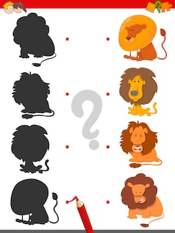 Jogo de sombras de jogo com leões
