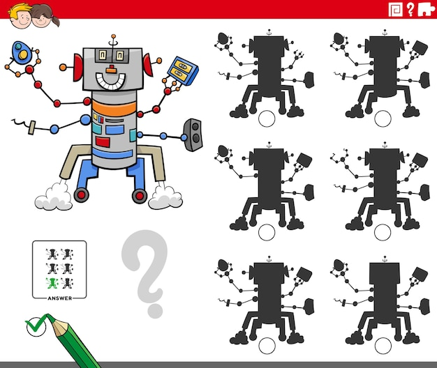Jogo de sombras educativo com personagem robô de desenho animado