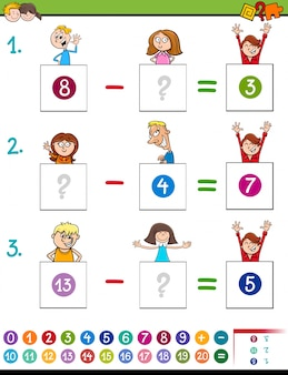Jogo de subtração de matemática com personagens infantis