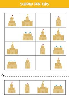 Jogo de sudoku com castelos de areia para crianças em idade pré-escolar. jogo lógico.