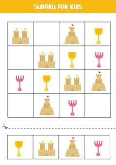 Jogo de sudoku com elementos fofos de verão para crianças em idade pré-escolar. jogo lógico.