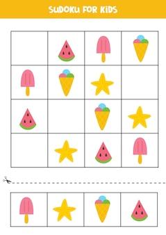 Jogo de sudoku com elementos fofos de verão para crianças em idade pré-escolar