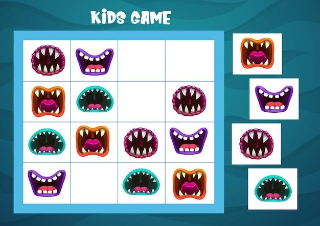 Jogo de sudoku com modelo de bocas de monstro de halloween
