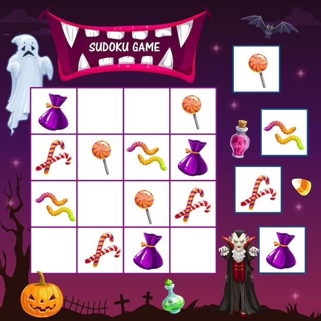 Jogo de sudoku infantil com guloseimas do feriado de halloween