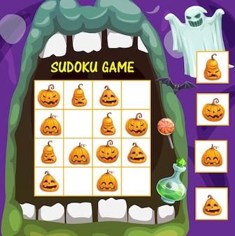 Jogo de sudoku infantil com jack o lantern de halloween