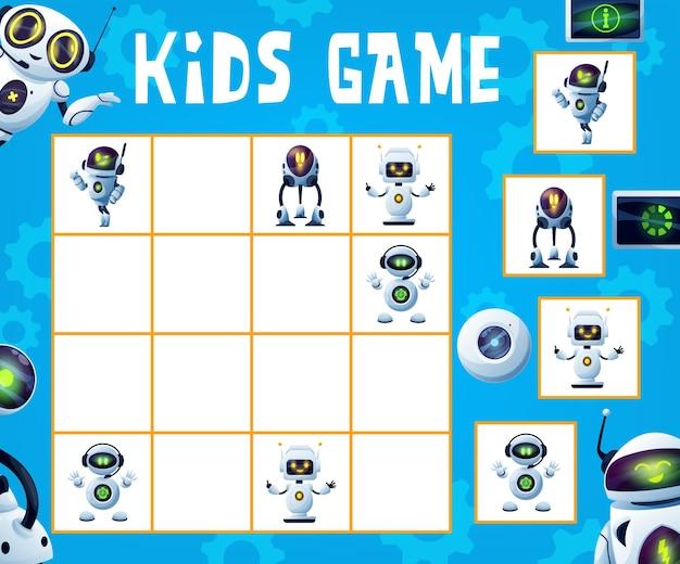 Jogo de sudoku infantil, enigma lógico com robôs e andróides