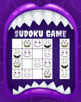 Jogo de sudoku infantil, quebra-cabeça de monstros de halloween