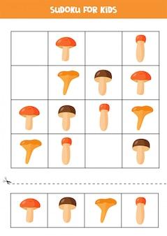 Jogo de sudoku para crianças. cogumelos bonitos dos desenhos animados.