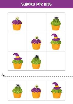 Jogo de sudoku para crianças com cupcakes de halloween dos desenhos animados.