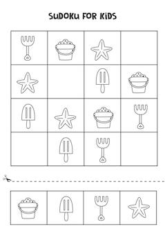 Jogo de sudoku para crianças com elementos bonitos de verão em preto e branco.