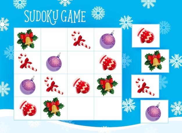 Jogo de sudoku para crianças com enfeites de árvore de natal