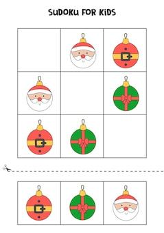 Jogo de sudoku para crianças com enfeites de natal.