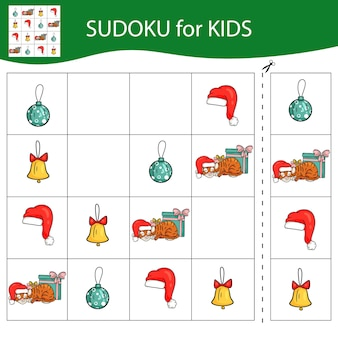 Jogo de sudoku para crianças com fotos. feliz natal e feliz ano novo. o tigre é um símbolo do ano novo chinês com elementos de natal. vetor.