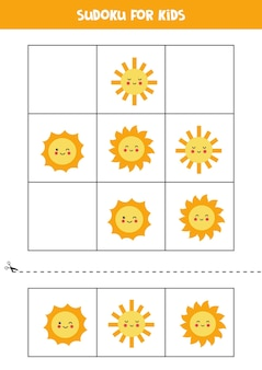 Jogo de sudoku para crianças com lindos sóis kawaii.