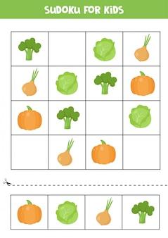 Jogo de sudoku para crianças em idade pré-escolar. legumes bonito dos desenhos animados.