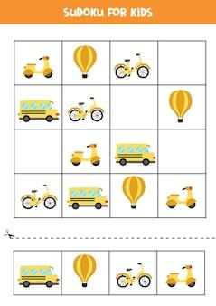 Jogo de sudoku para crianças pré-escolares. jogo lógico com transporte.