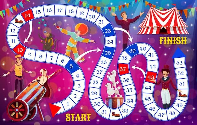 Jogo de tabuleiro com artistas de circo shapito, jogo de mesa para crianças, modelo vetorial. jogo de tabuleiro de movimento e dados de desenhos animados para crianças com palhaços de circo e animais, entretenimento infantil e atividades cerebrais