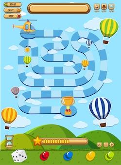 Jogo de tabuleiro com balões no céu azul