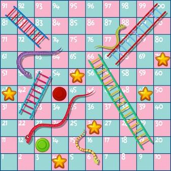 Jogo de tabuleiro com cobras e escadas