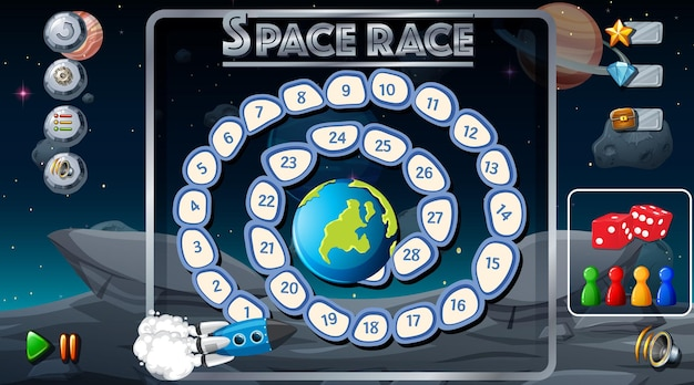Jogo de tabuleiro com modelo de tema espacial