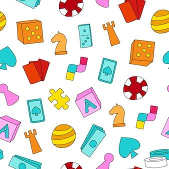 Jogo de tabuleiro com o tema de jogo de tabuleiro sem costura, peças coloridas de desenhos animados, cartas de jogar