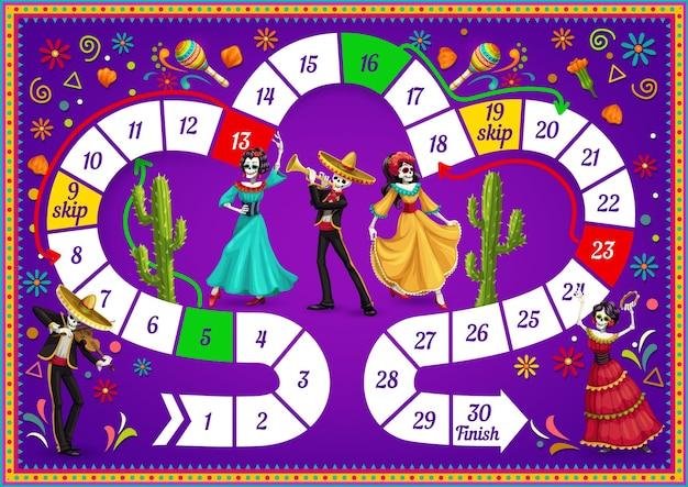 Jogo de tabuleiro com personagens do dia de los muertos