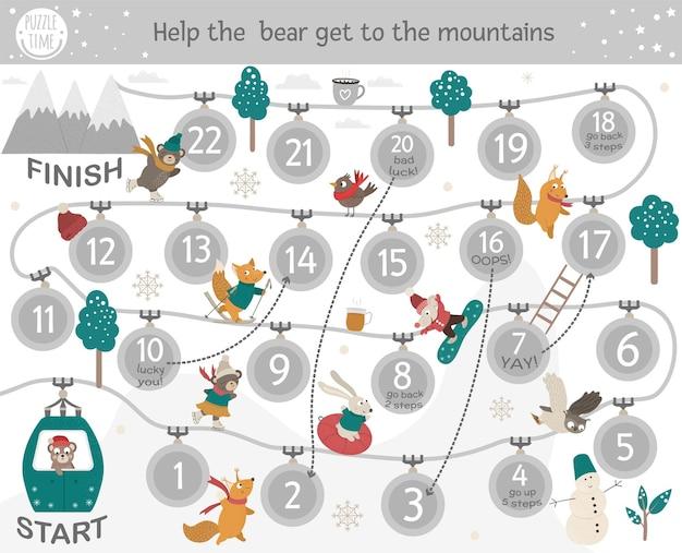Jogo de tabuleiro de aventura de inverno para crianças com esportes e atividades.