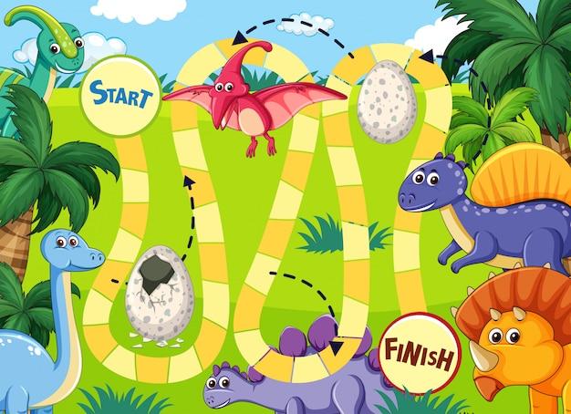 Jogo de tabuleiro de caminho de dinossauro
