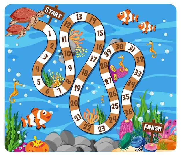 Jogo de tabuleiro de caminho em tema subaquático com animais marinhos