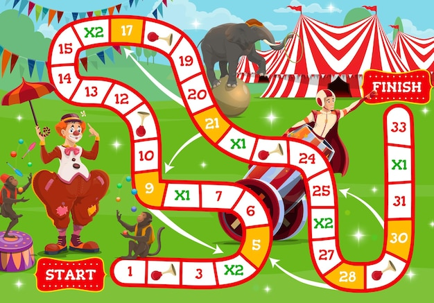 Jogo de tabuleiro de circo, personagens shapito perto do grande topo