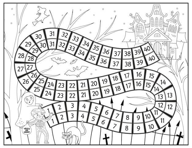 Jogo de tabuleiro de halloween em preto e branco para crianças com castelo assustador e crianças fofas. jogo de tabuleiro educacional com casa mal-assombrada. página para colorir para impressão assustadora.