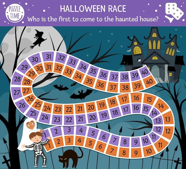 Jogo de tabuleiro de halloween para crianças com castelo assustador e crianças fofas. jogo de tabuleiro educacional com morcegos, gato preto, bruxa. quem é o primeiro a entrar na casa mal-assombrada? atividade assustadora para impressão.