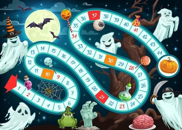 Jogo de tabuleiro de halloween para crianças, modelo de mapa com caminho